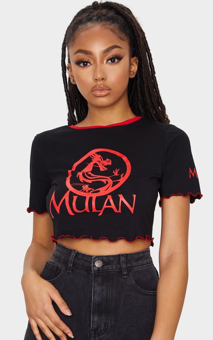 Black Disney Mulan Printed Lettuce Hem Crop Top 1