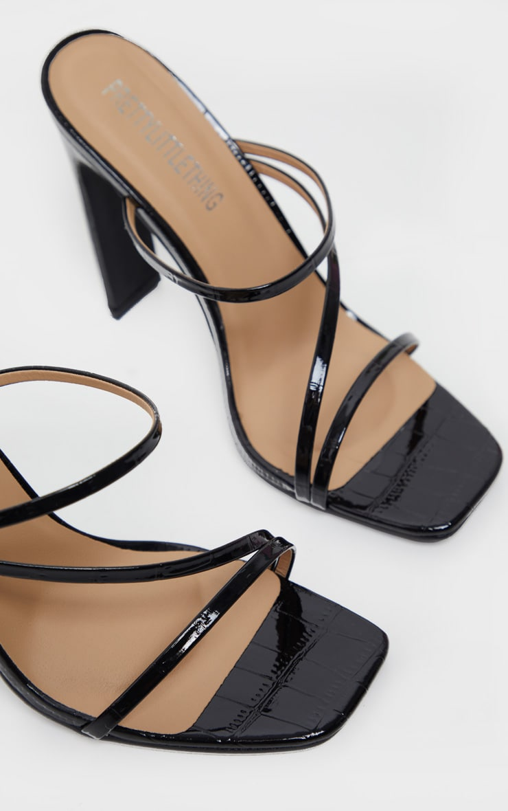 Black Wide Fit Square Toe Flat Heel Strappy Mule 4