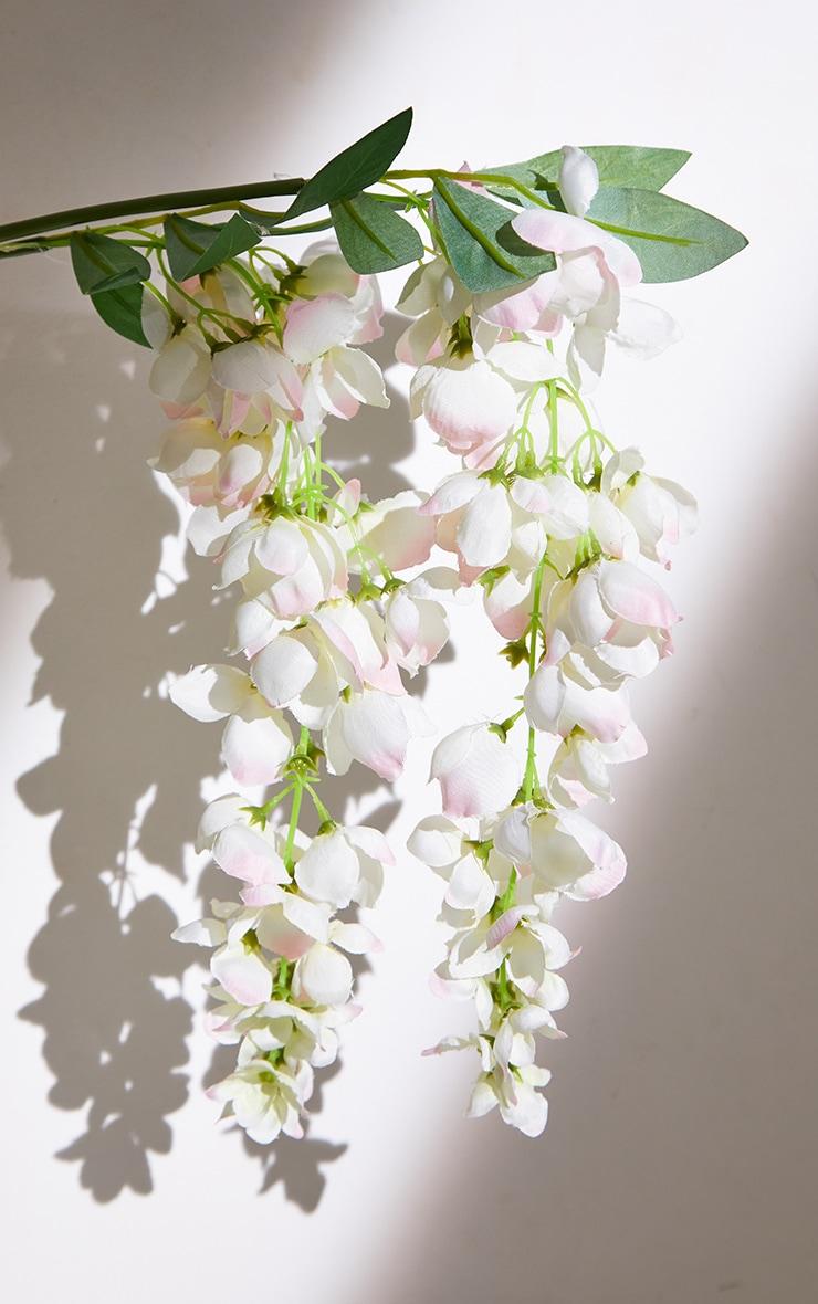 White Silk 3 Head Wisteria Branch Artificial Flower 4