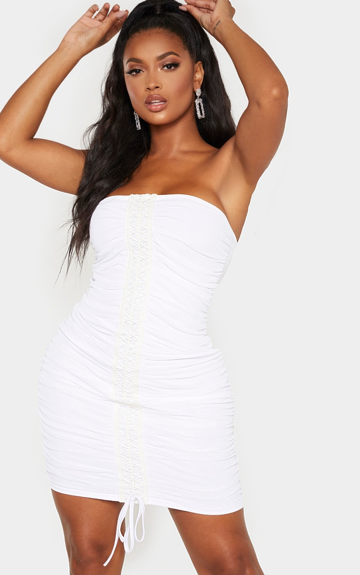 Shape White Lace Up Mesh Bandeau Dress