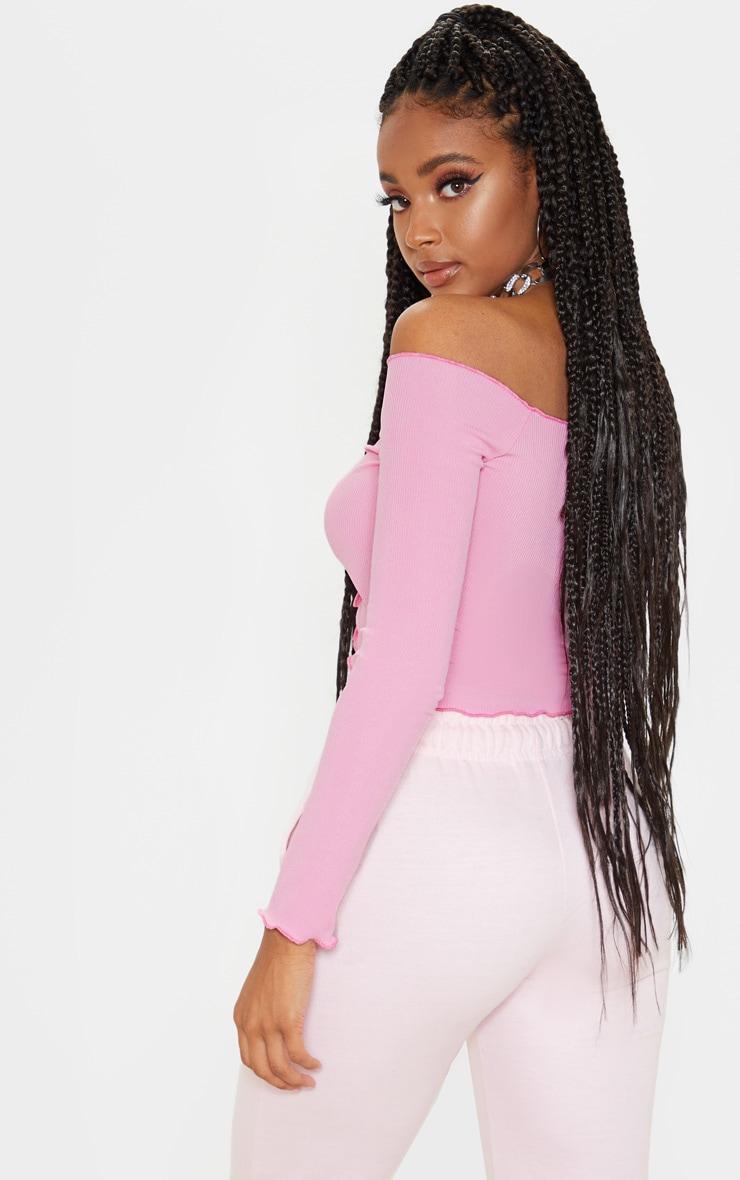 Pink Rib Frill Long Sleeve Bardot Top 2