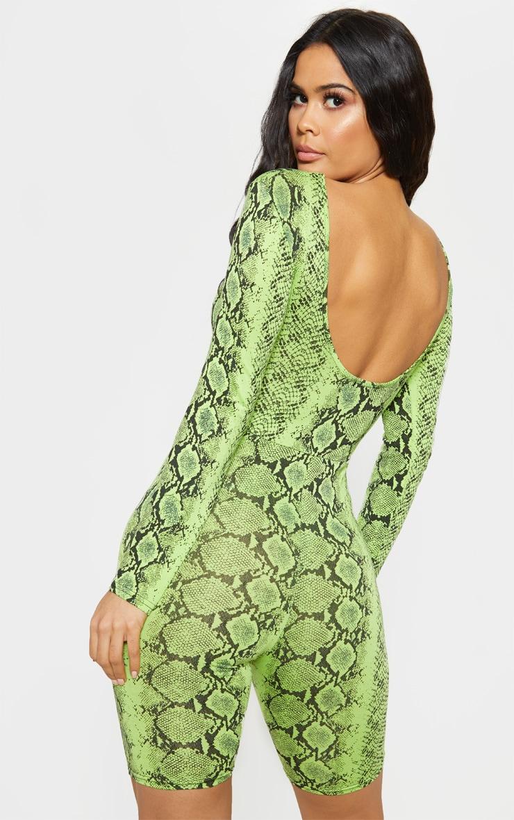 Lime Snake Print Long Sleeve Scoop Back Unitard 5