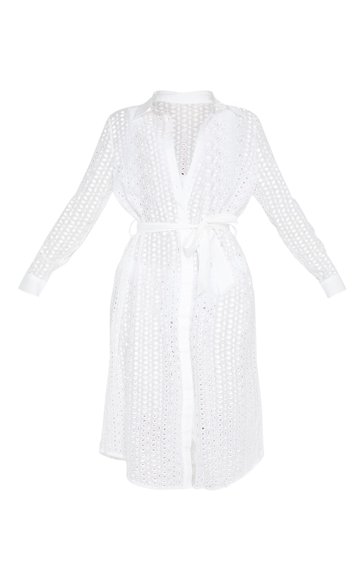 White Broderie Tie Waist Beach Dress 3