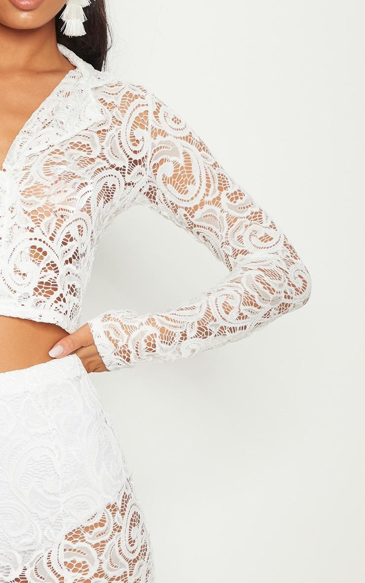 White Lace Mini Skirt With Split 5
