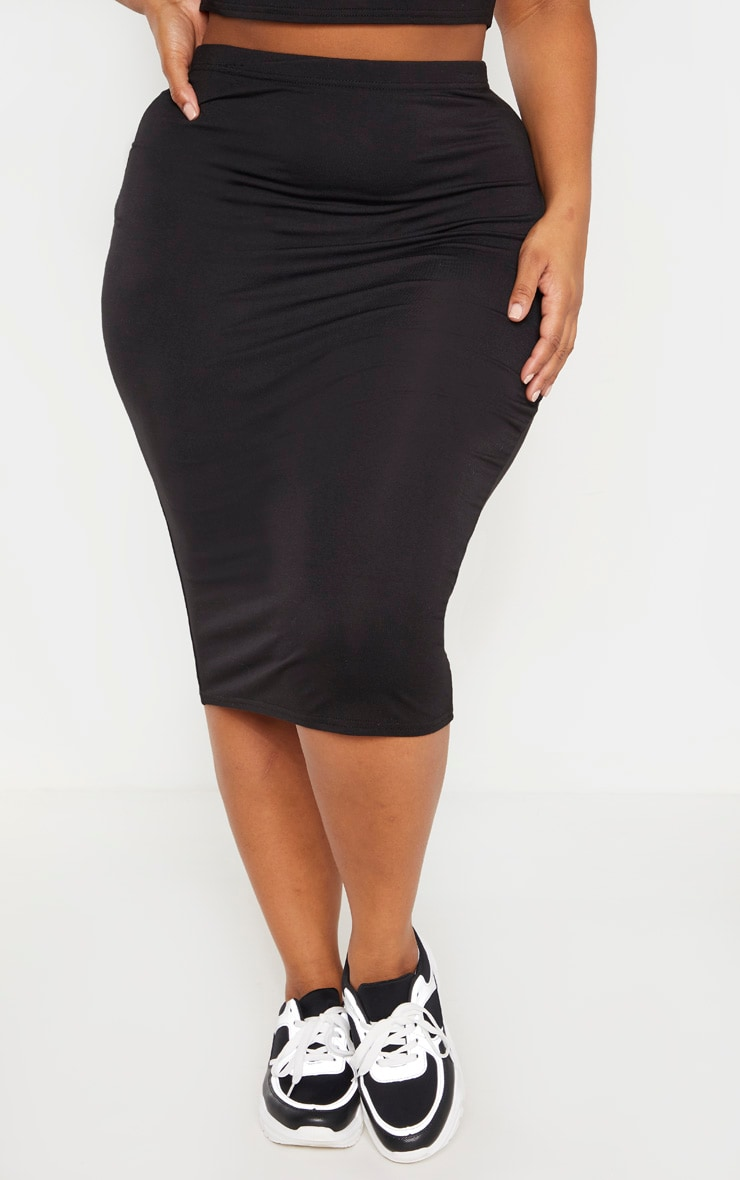 Plus Black Jersey Midi Skirt 2