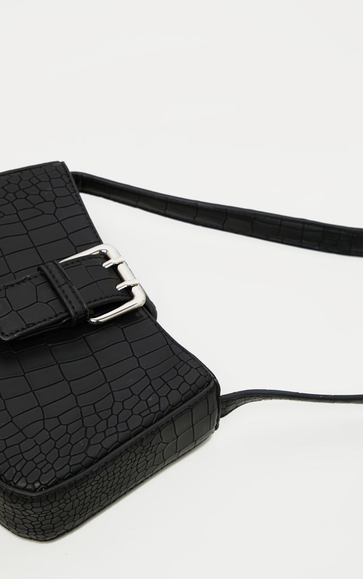 Black Croc Buckle Front Shoulder Bag 4