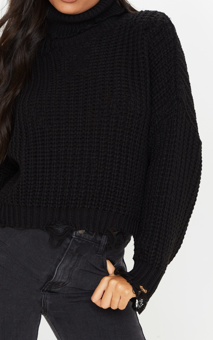 Black Distressed Detail Roll Neck Sweater 5