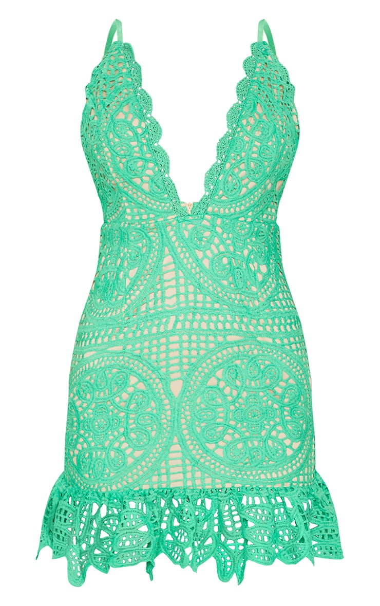 Bright Green Strappy Thick Lace Frill Hem Bodycon Dress 3