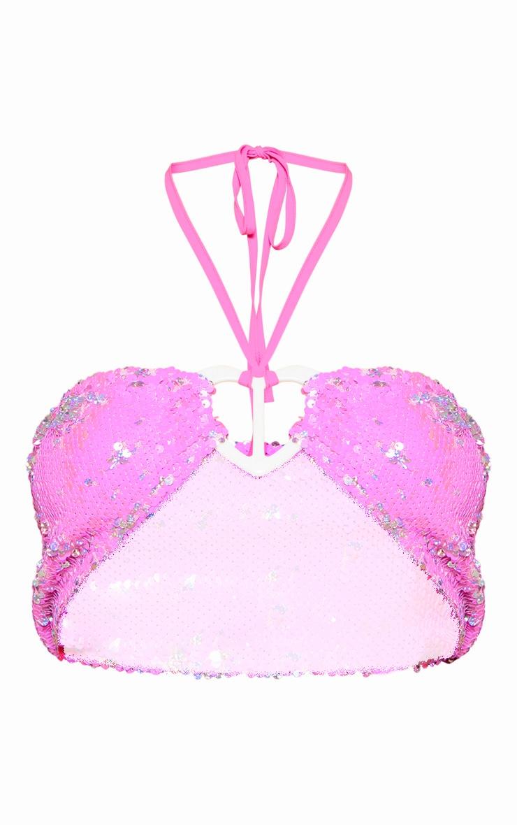 Baby Pink Sequin Heart Trim Crop Top 4