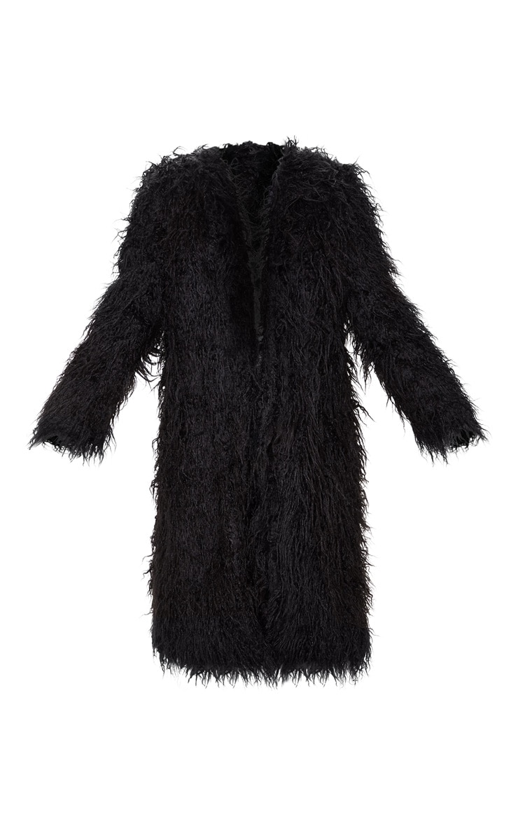Black Shaggy Longline Faux Fur Coat 3