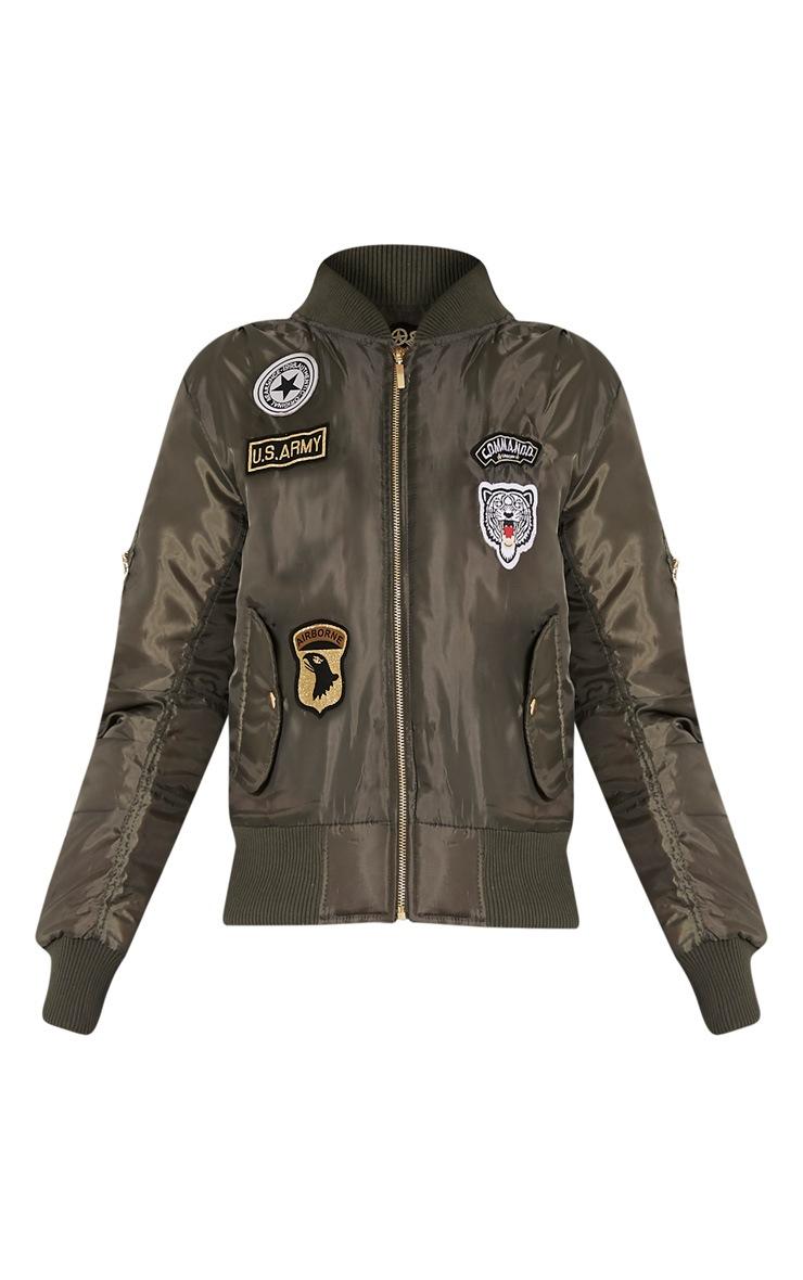 Joya Khaki Utility Badge Bomber Jacket 3