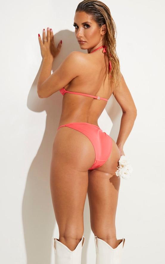 Coral Minimal Triangle Tanga Bikini Set 1