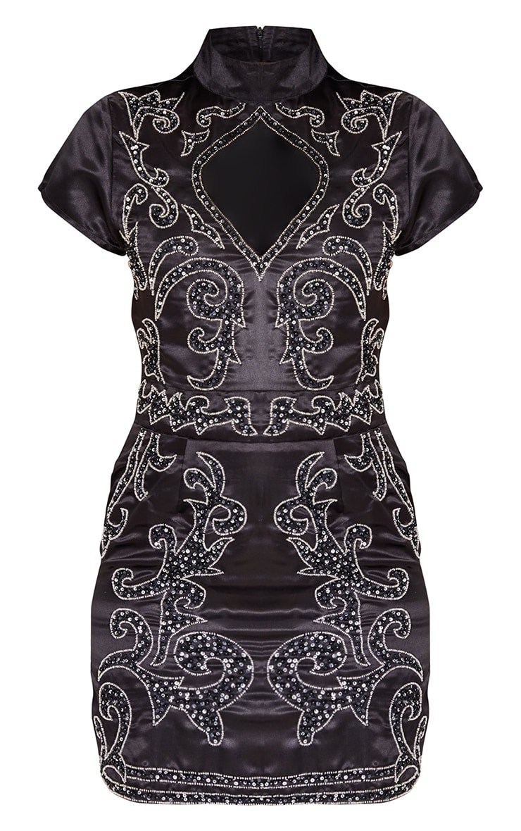Black Satin Embellished Cut Out Short Sleeve Bodycon Dress 3