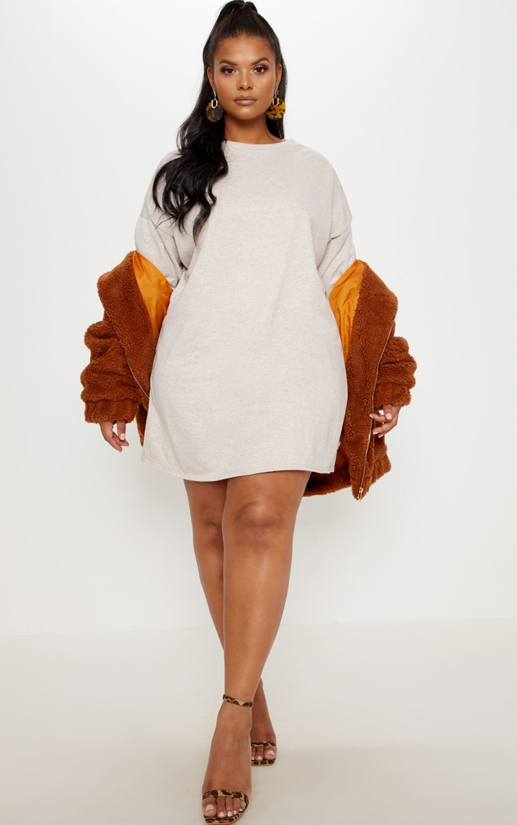 Plus Stone Oversized Sweater Dress 4