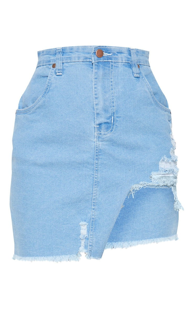 Petite Light Wash Distressed Front Rip Denim Skirt 3