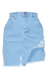 ae9c258641c Petite Light Wash Distressed Front Rip Denim Skirt image 3