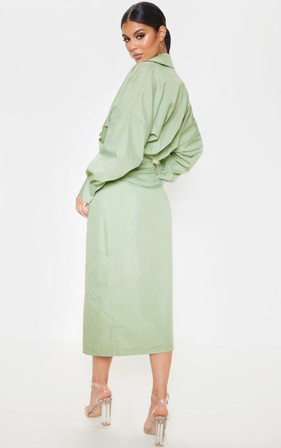Sage Khaki Midi Shirt Dress