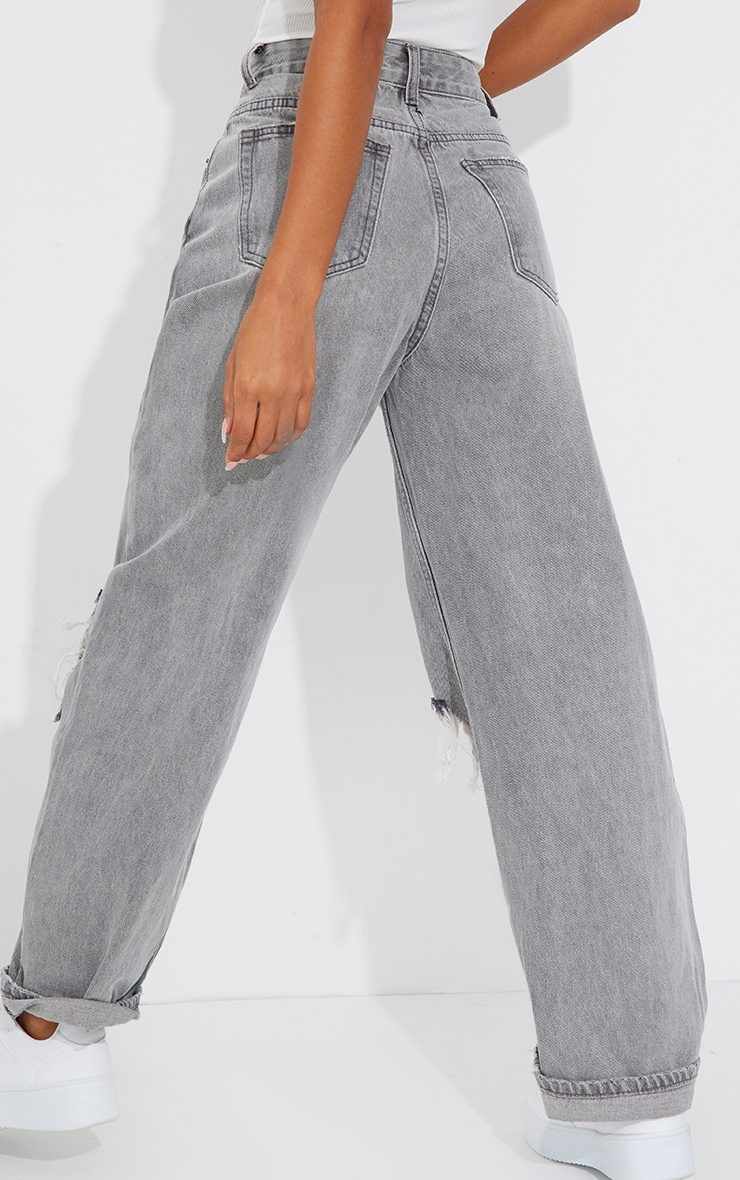PRETTYLITTLETHING Washed Grey Open Knee Ripped Turn Up Boyfriend Jeans 3