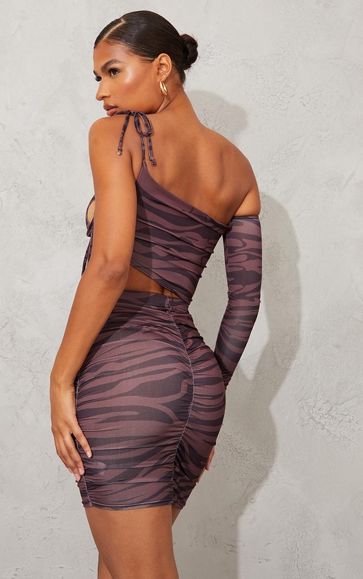Brown Zebra Print Slinky Bardot Ruched Side Long Sleeve Asymmetric Crop Top 2