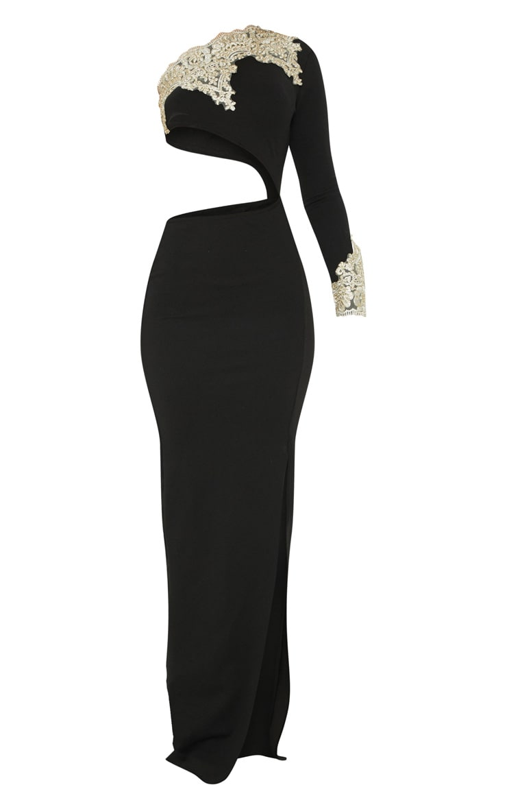 Black Applique Detail One Shoulder Cut Out Maxi Dress 3