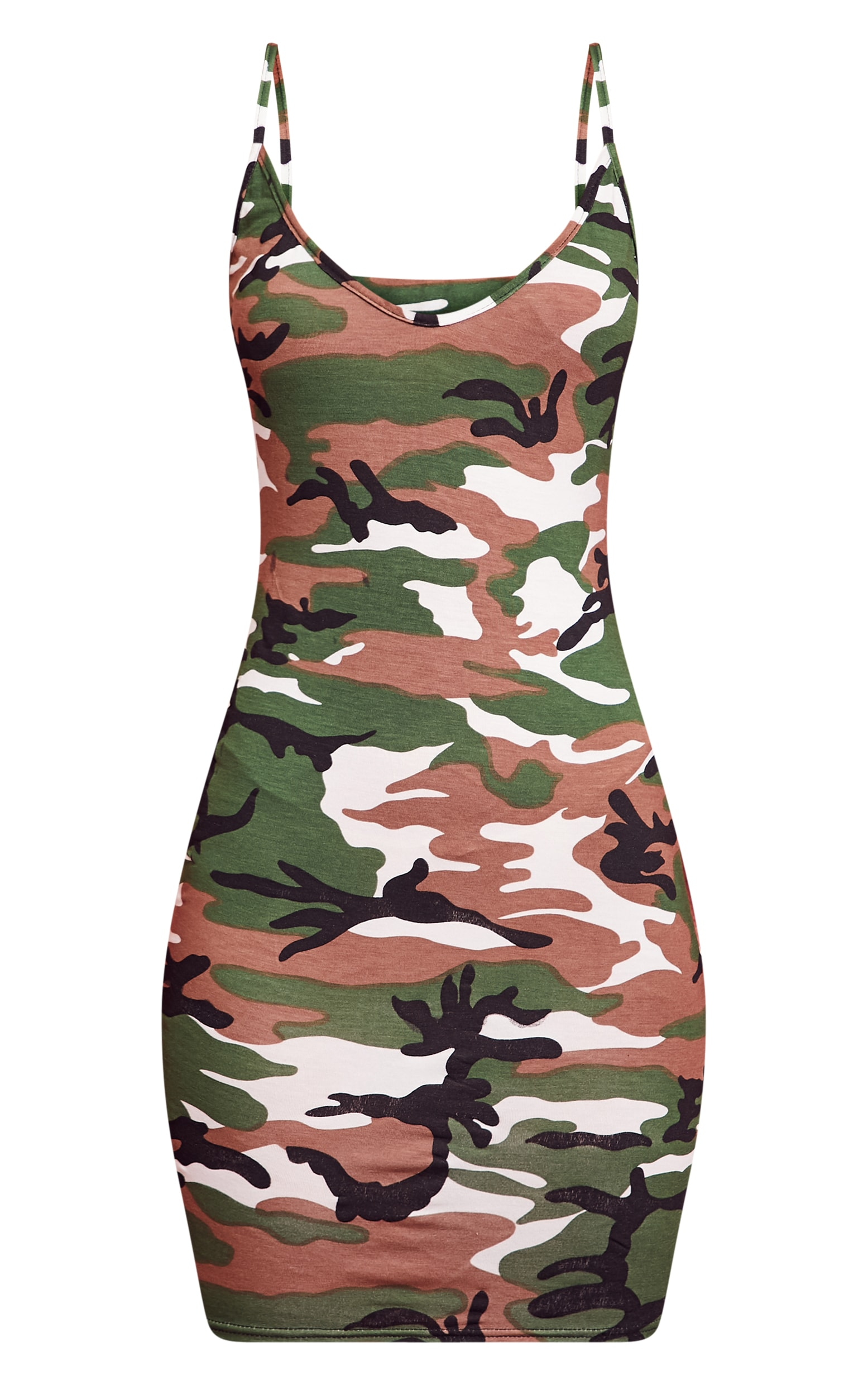 Camo Print Strappy Plunge Bodycon Dress 3