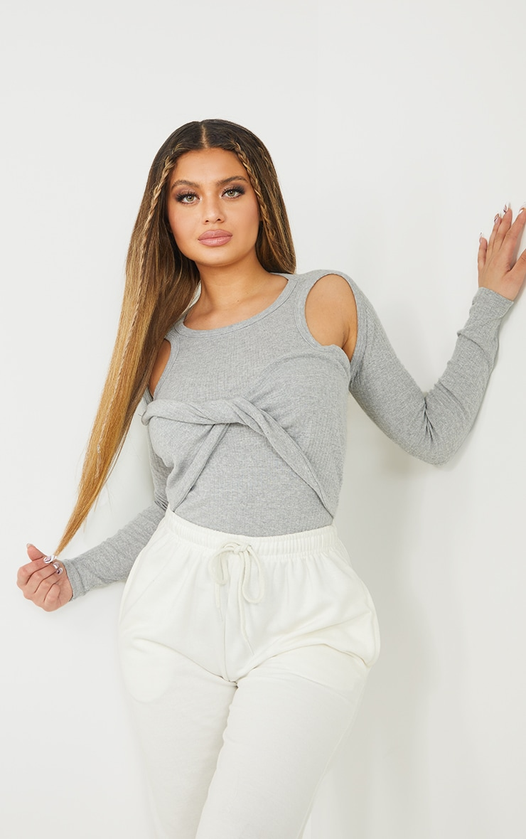 Grey Rib Racer Tie Front Long Sleeve Bodysuit 1