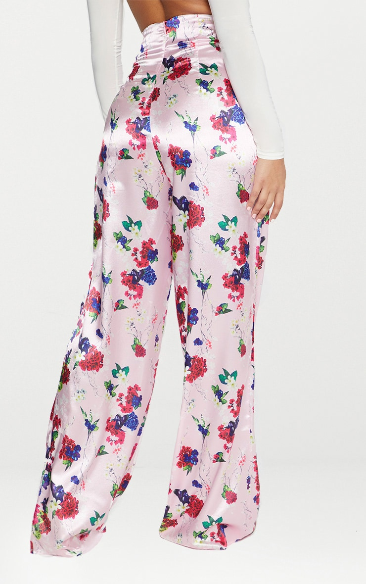 Pink Satin Floral Print High Waisted Trousers 4