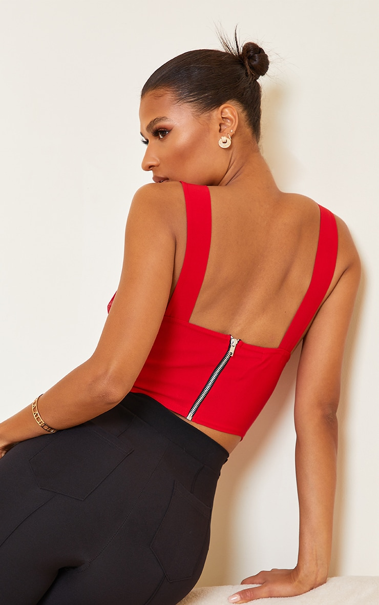 Red Bengaline Chiffon Strap Corset Detail Long Top 2