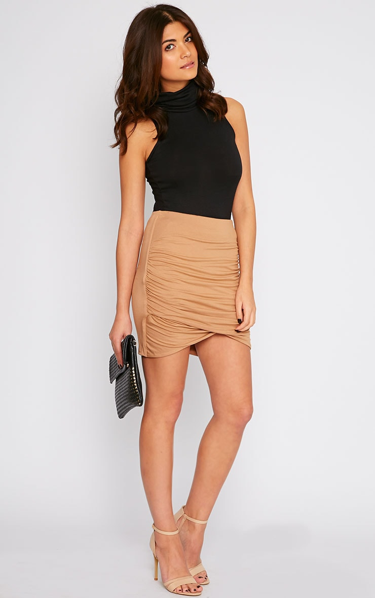 Camel Jersey Ruched Mini Skirt  1
