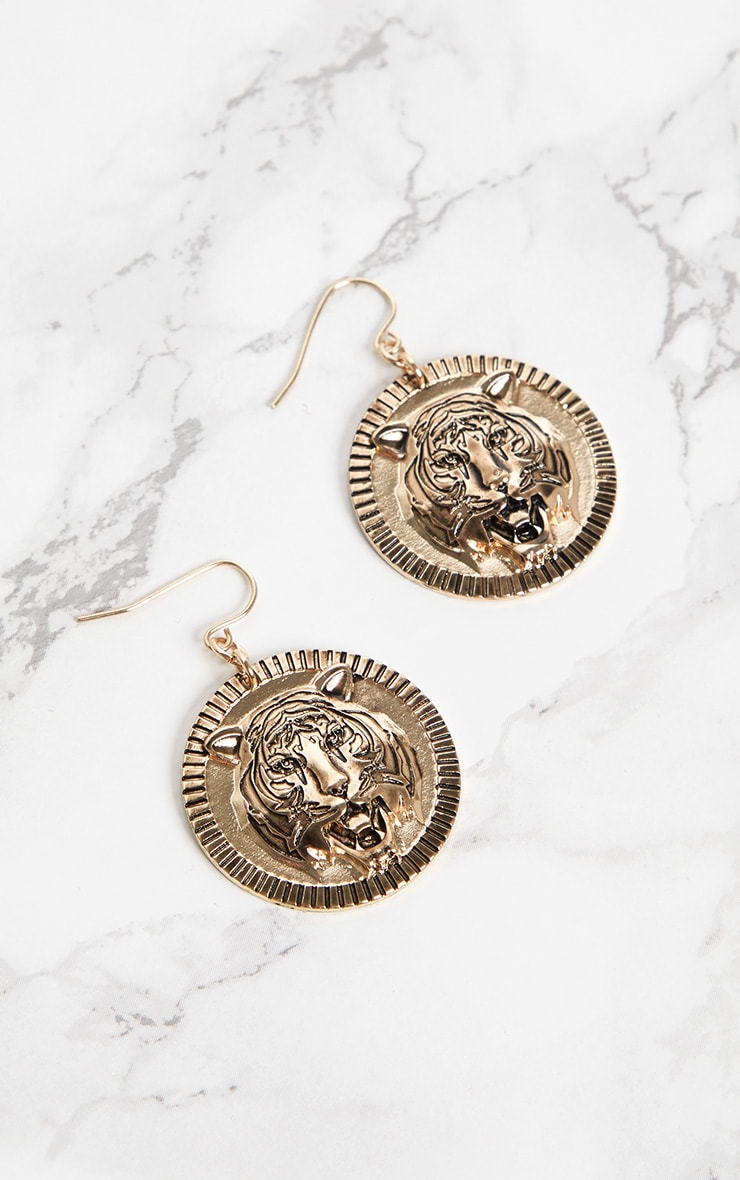 Gold Tiger Coin Drop Earrings 3