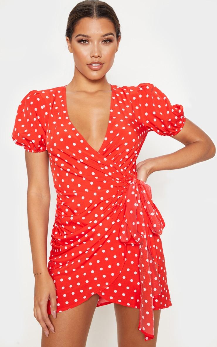 Red Polka Dot Tie Side Puff Sleeve Tea Dress 1
