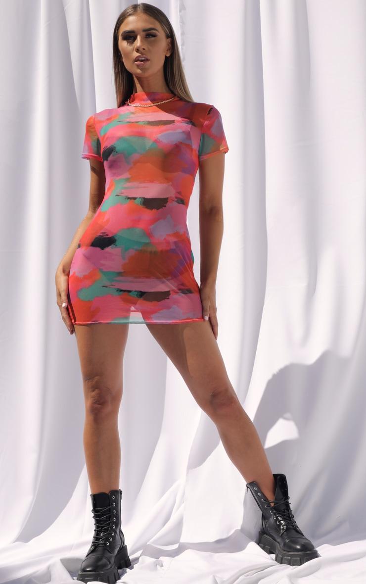 Multi Tie Dye Mesh High Neck Short Sleeve Bodycon Dress 3