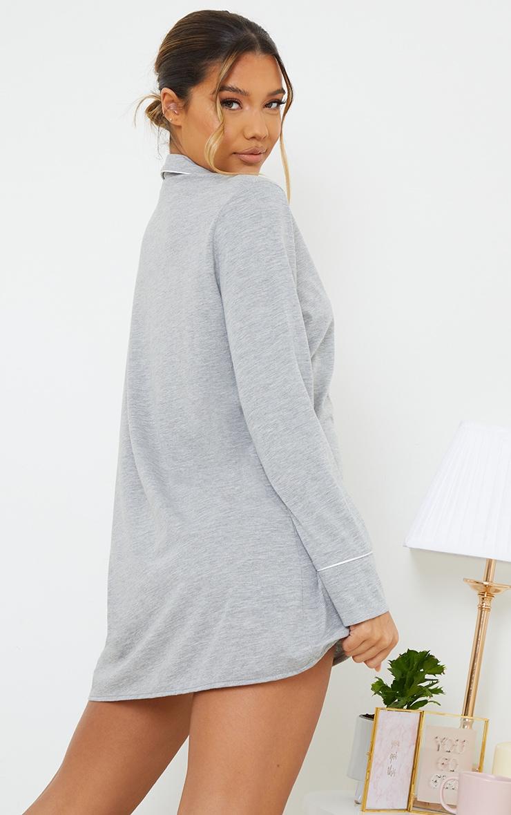 Grey Jersey Button Down Nightshirt 2