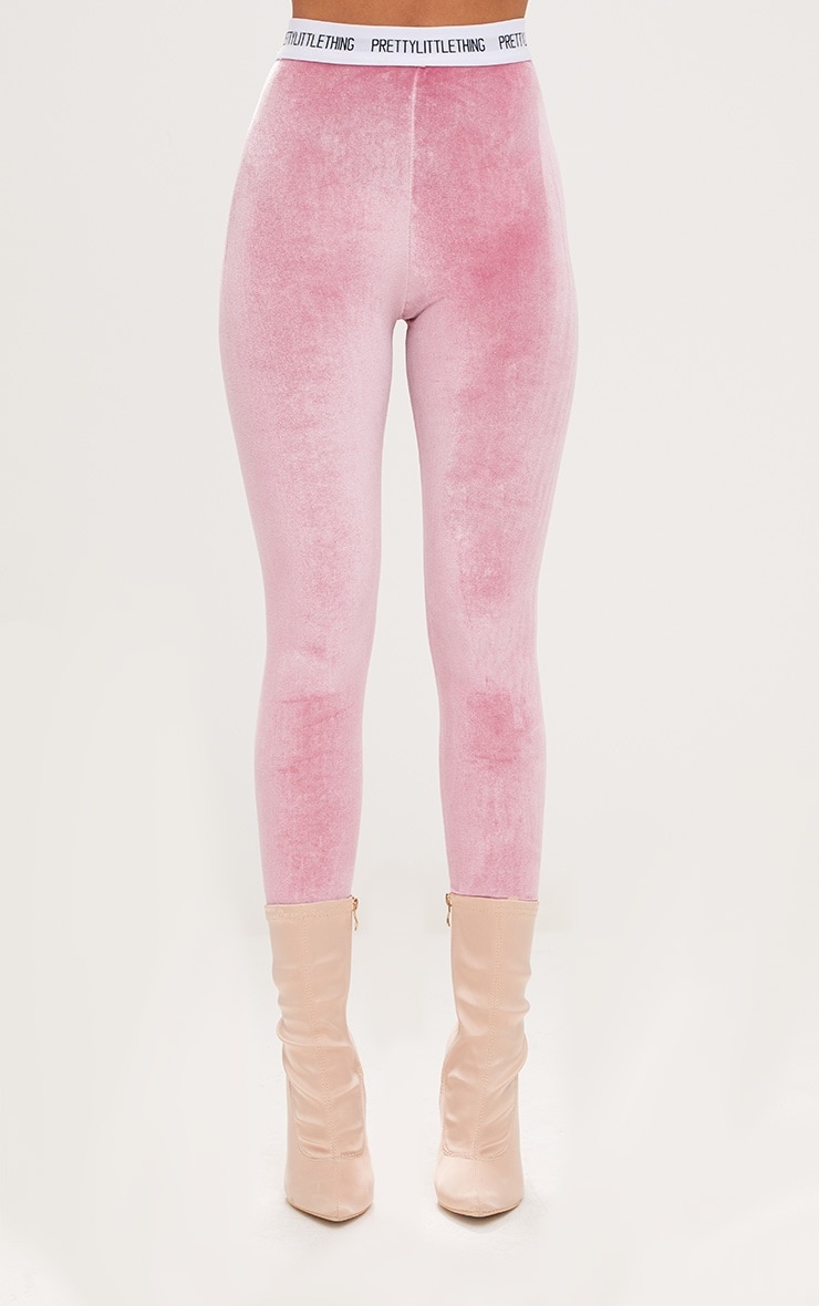 PRETTYLITTLETHING Light Pink Velvet Leggings 2
