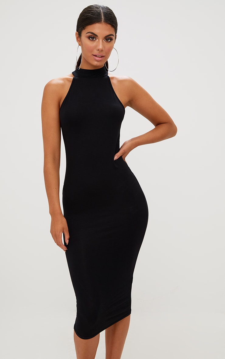 Black High Neck Midi Dress 1