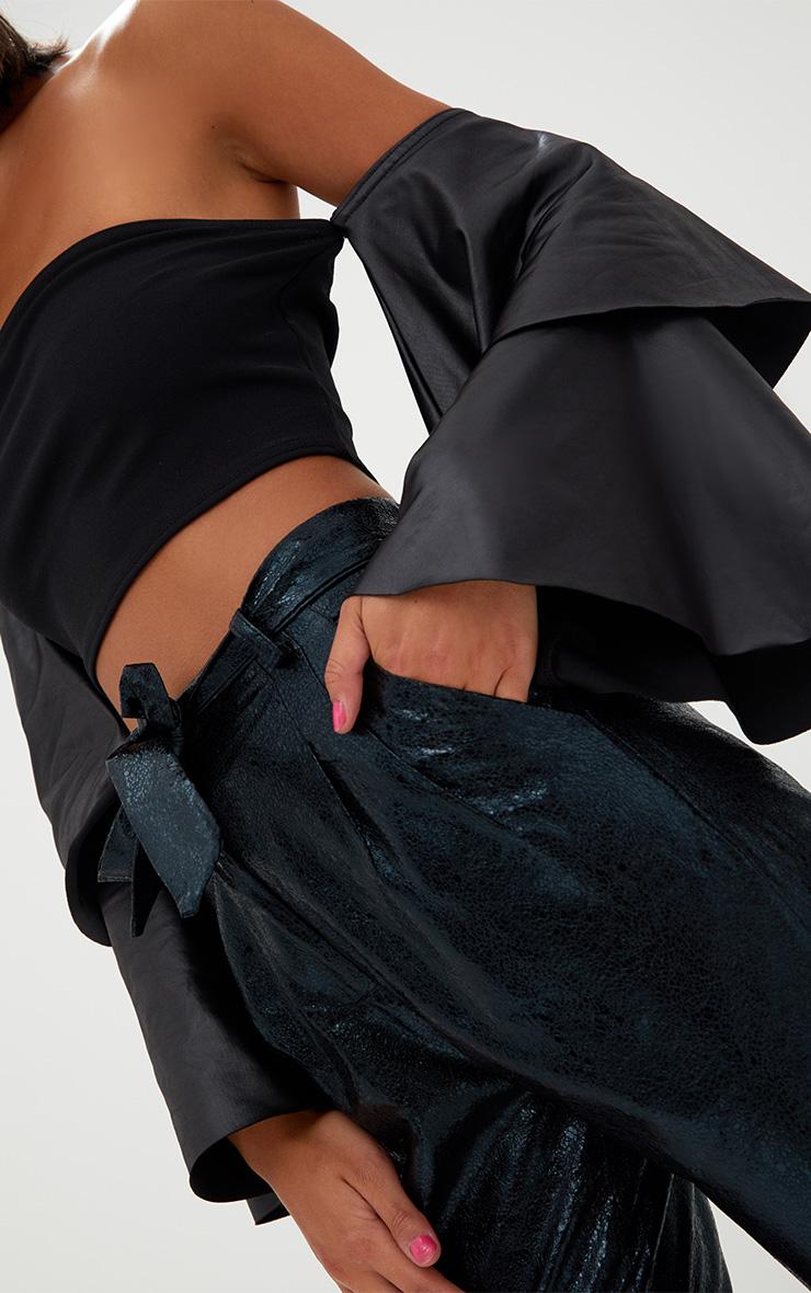 Black Bandeau PU Layered Frill Sleeve Crop Top 5