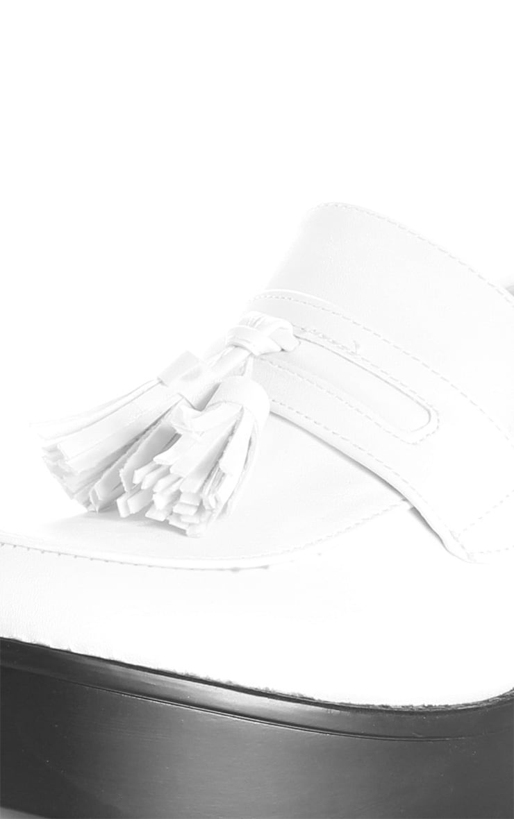 Georgia White Heeled Tassel Loafer  4