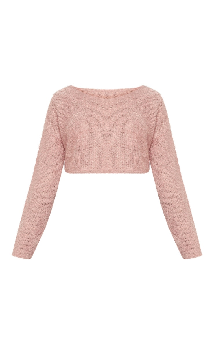 Pink Cropped Oversized Eyelash Sweater  3