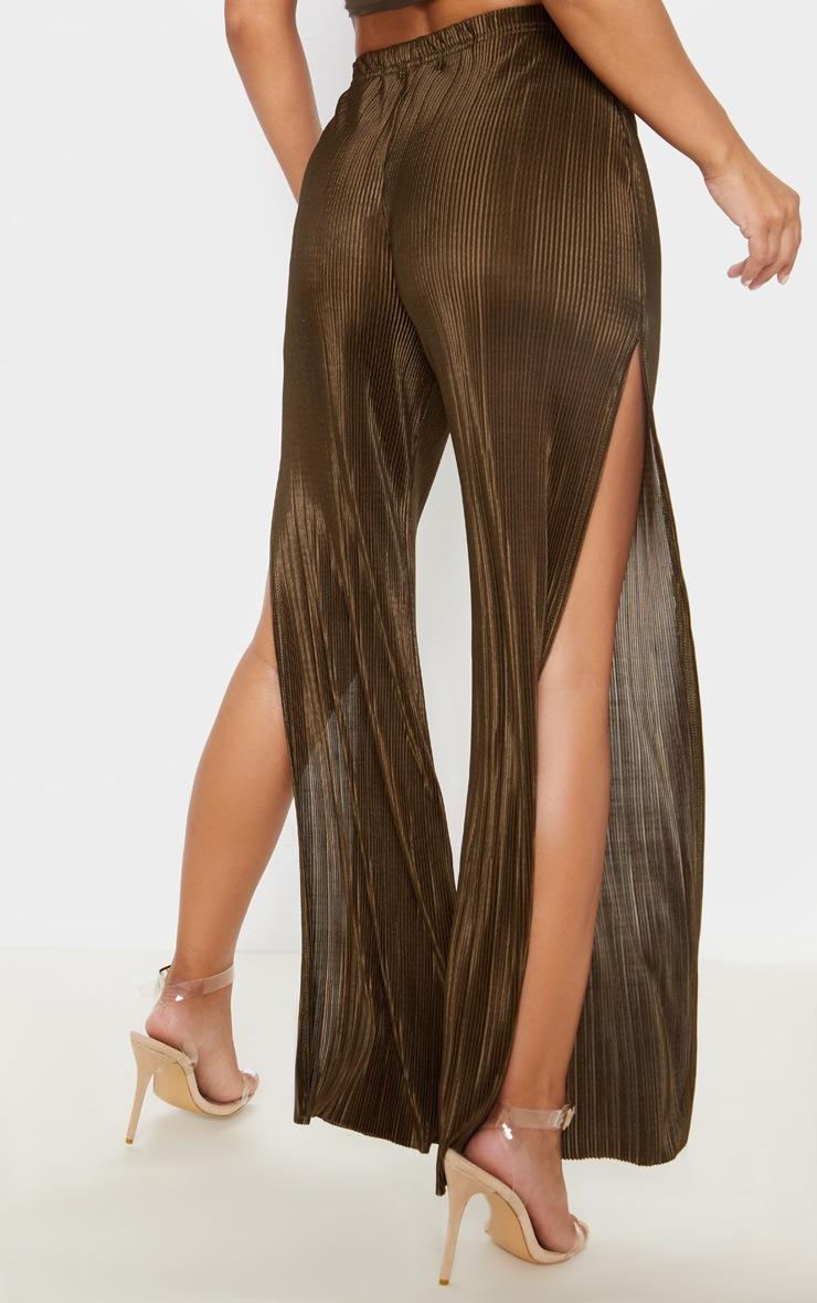 Petite Olive Khaki Pleated Split Wide Leg Trouser 3
