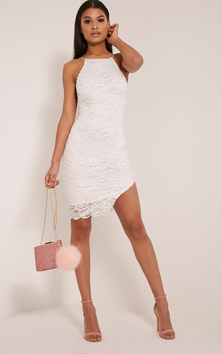 Maddie White High Neck Lace Midi Dress 1