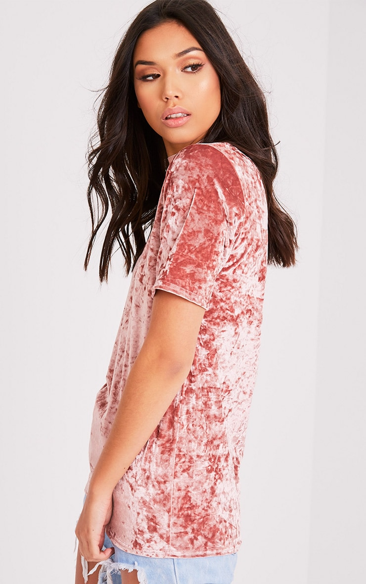 Suri t-shirt surdimensionné côtelé en velours rose 4