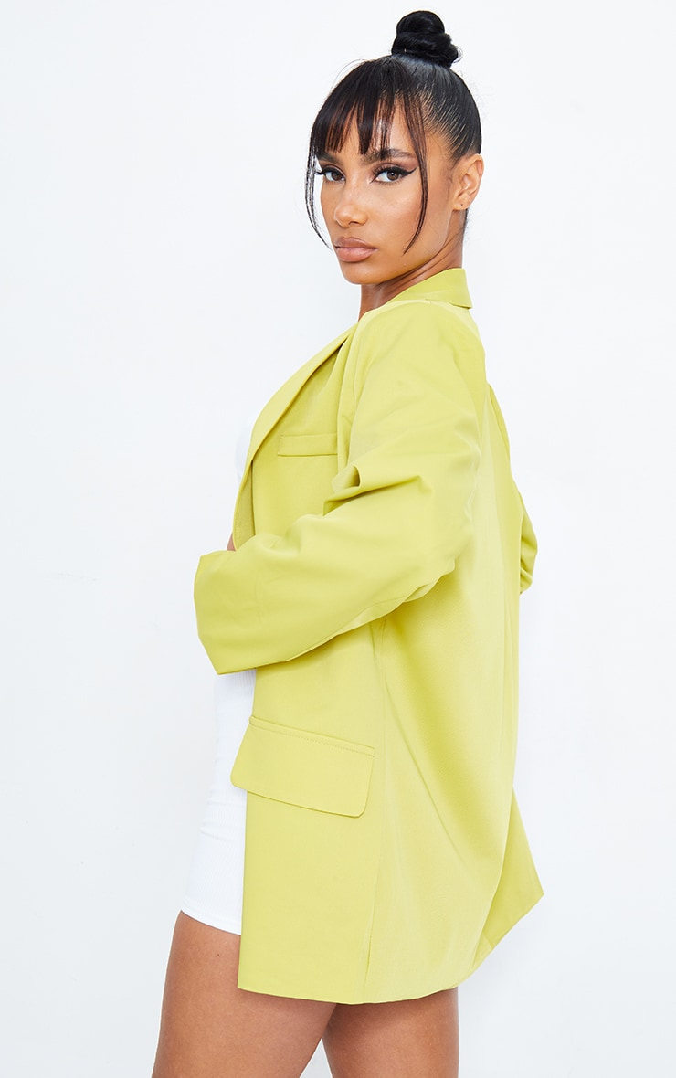 Lime Curved Lapel Woven Longline Blazer 2