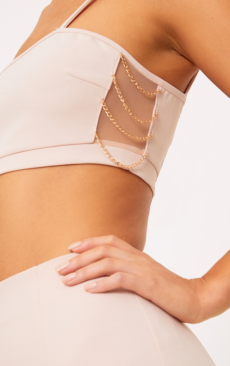 Clea Nude Strappy Chain Detail Crop Top 5
