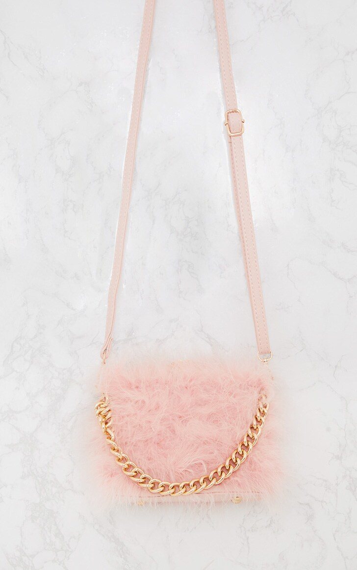 Pink Marabou Feather Clasp Chain Handle Bag 4