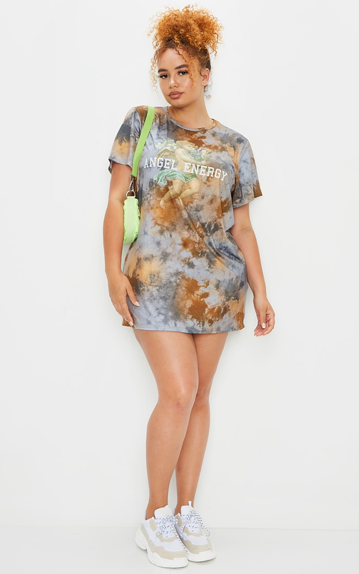 Plus Stone Tie Dye Angel Energy T Shirt Dress 1