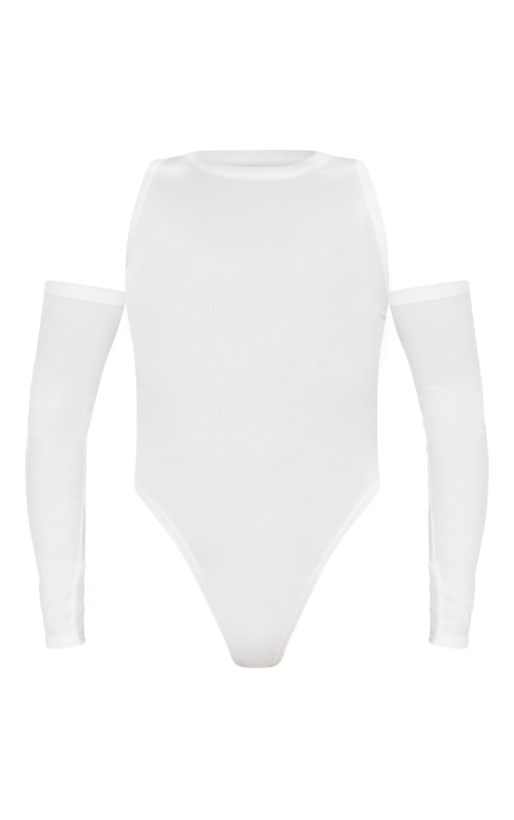 Body blanc côtelé à épaules découpées et manches longues  5