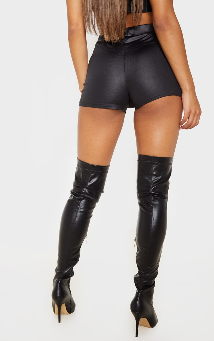 Black Wet Look Button Detail Hot Pants 4
