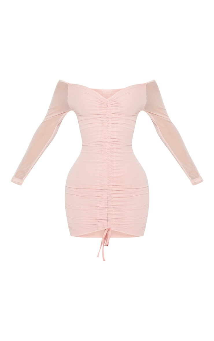 Shape Dusty Rose Mesh Ruched Bardot Bodycon Dress 5
