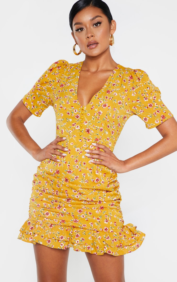 Mustard Ditsy Floral Ruched Skirt Tea Dress 4