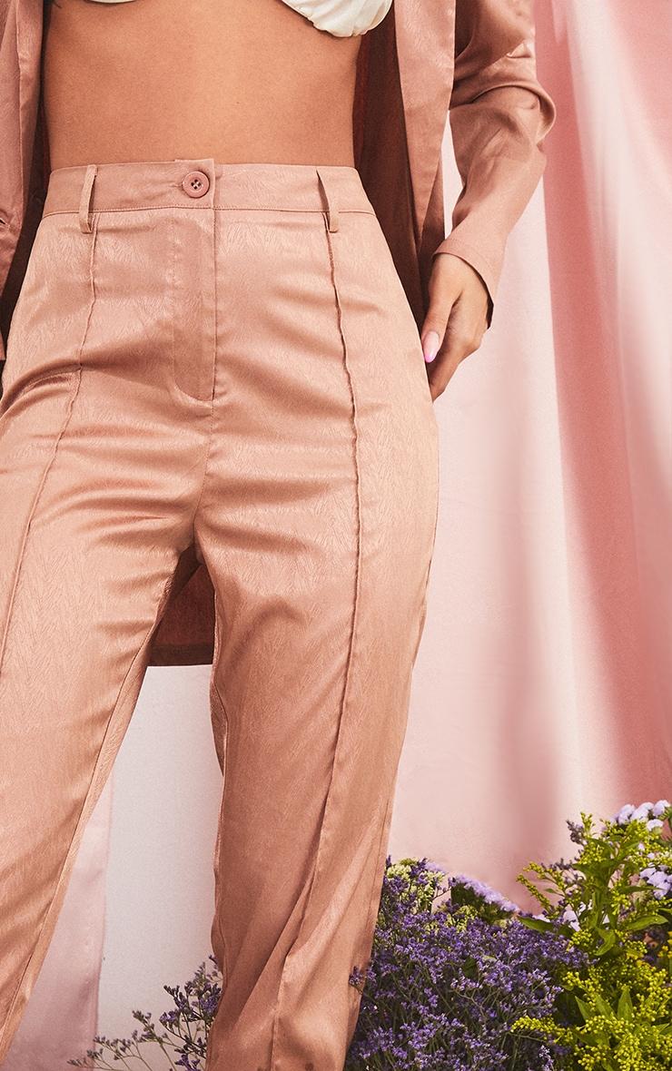 Mocha Printed Satin Seam Front Straight Leg Trousers 4